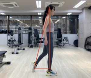 歩き姿 足と頭のライン